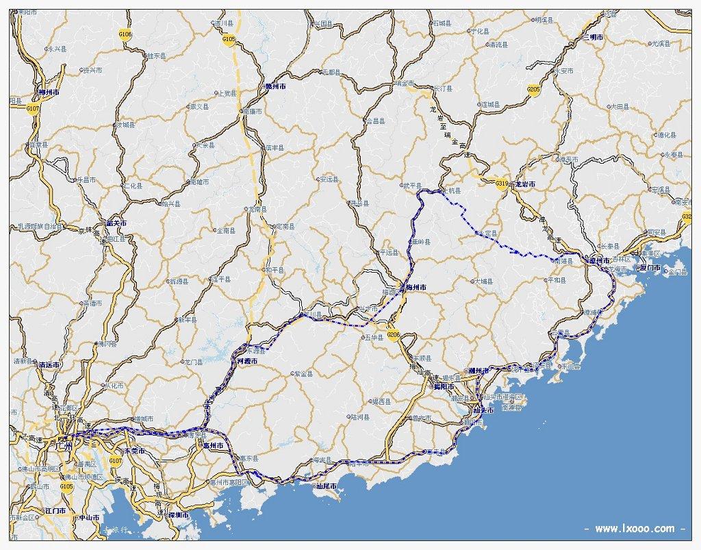 梅州至福建之客家围屋骑行地图
