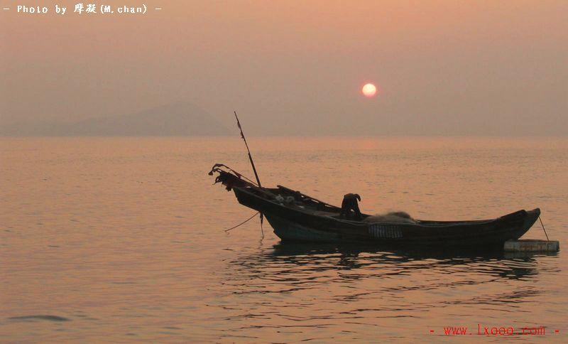 渔船 日落