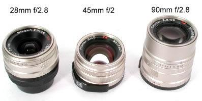 Contax G2 的三个镜头
