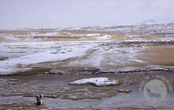 倒淌河边打水的藏族妇女