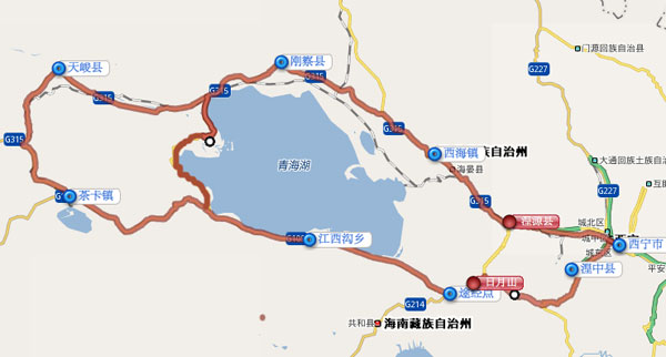 环青海湖骑行地图