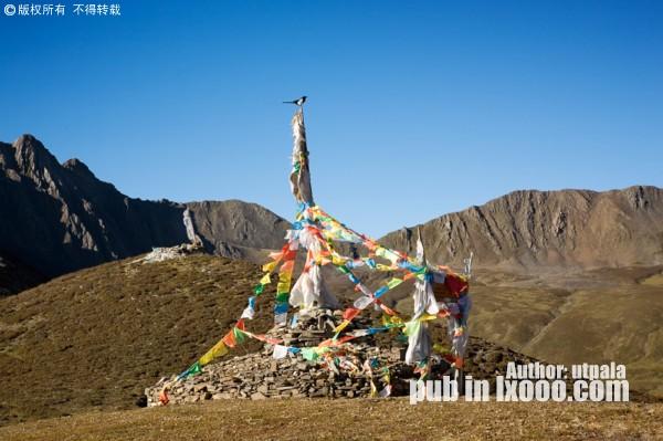 子梅垭口的玛尼堆经幡上,一只喜鹊静静的望向静谧的贡嘎神山的方向
