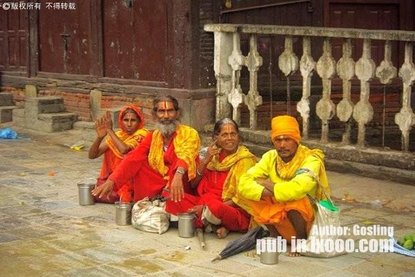 尼泊尔的乞丐们