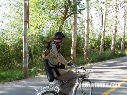 莫高窟附近的胡杨公路+骑行的河童