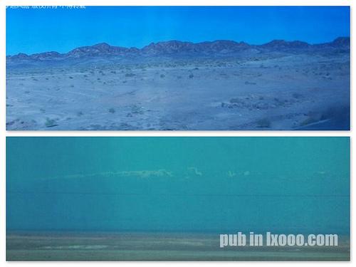 透过车玻璃:1007敦煌的戈壁滩,中午十二点半哈密市的雪山