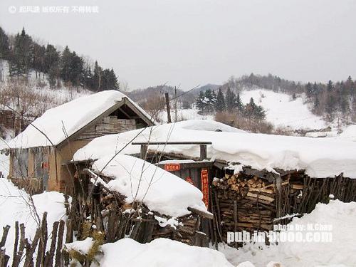 屋顶上盈尺的积雪@东升农场 雪乡