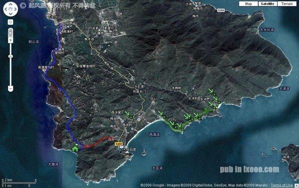 大鹏半岛大鹿港徒步穿越露营地图