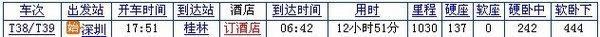 韶关至桂林的列车时刻表(T38/T39)