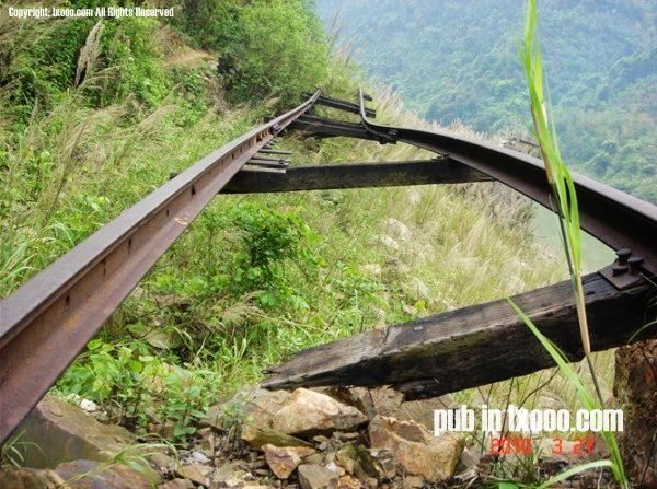 老京广铁路的路轨残骸