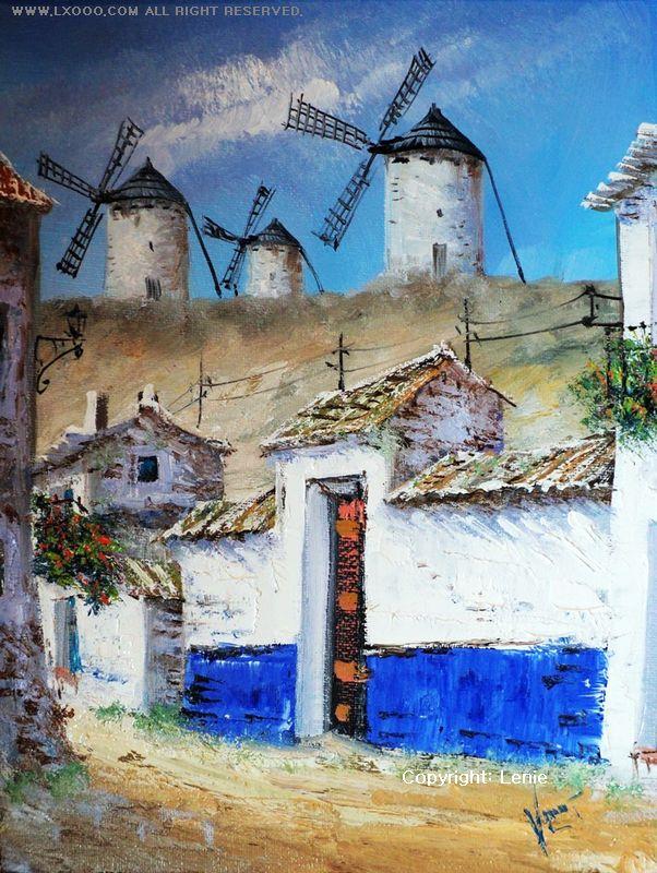 西班牙风车油画