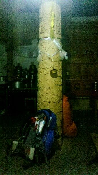 西藏人嘎松江村家的雕龙柱子